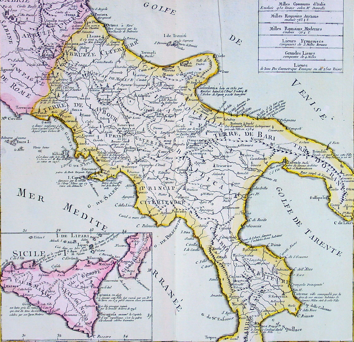 1767 Clouet Large Antique Map Southern Italy Amp Sicily Ebay